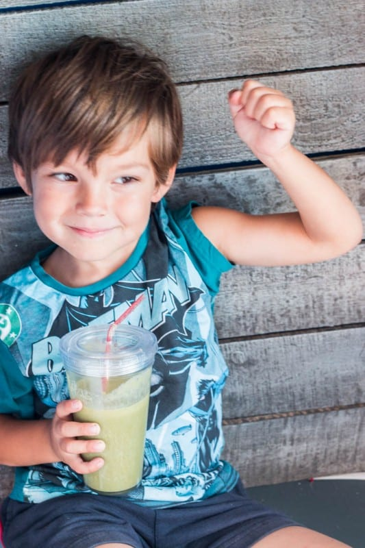 """Smoothies are a great way to get kids to eat their fruit and veggies. I love making smoothie recipes for kids like this one, """"The Popeye Smoothie."""""""