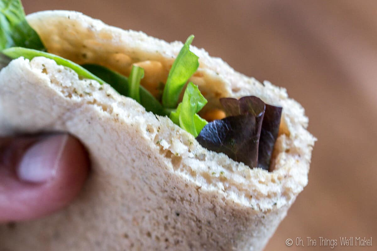 Rolled up paleo pita with lettuce inside