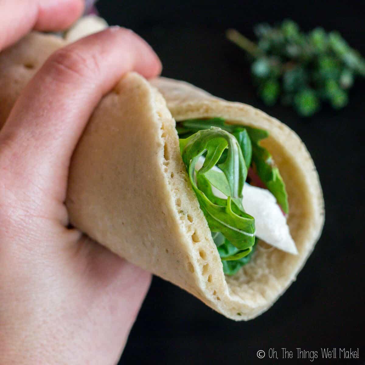 wrap sandwich made with paleo pita
