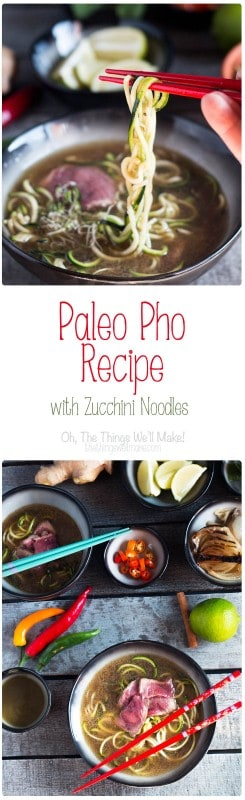 This paleo pho recipe will help you transform ordinary beef bone broth and zucchini noodles into the most exotic and spectacular Vietnamese soup.