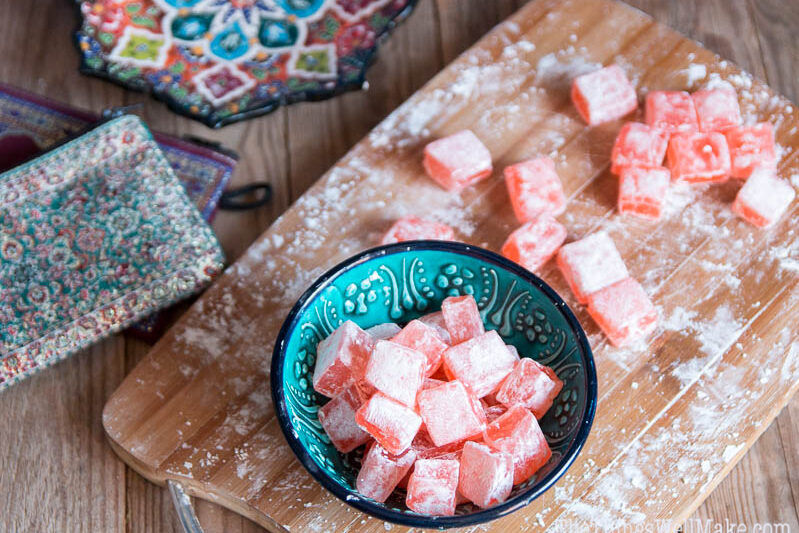 After days of experimentation, I discovered how to make turkish delight that is chewy and has an exotic rose flavor like the one I bought in Turkey.