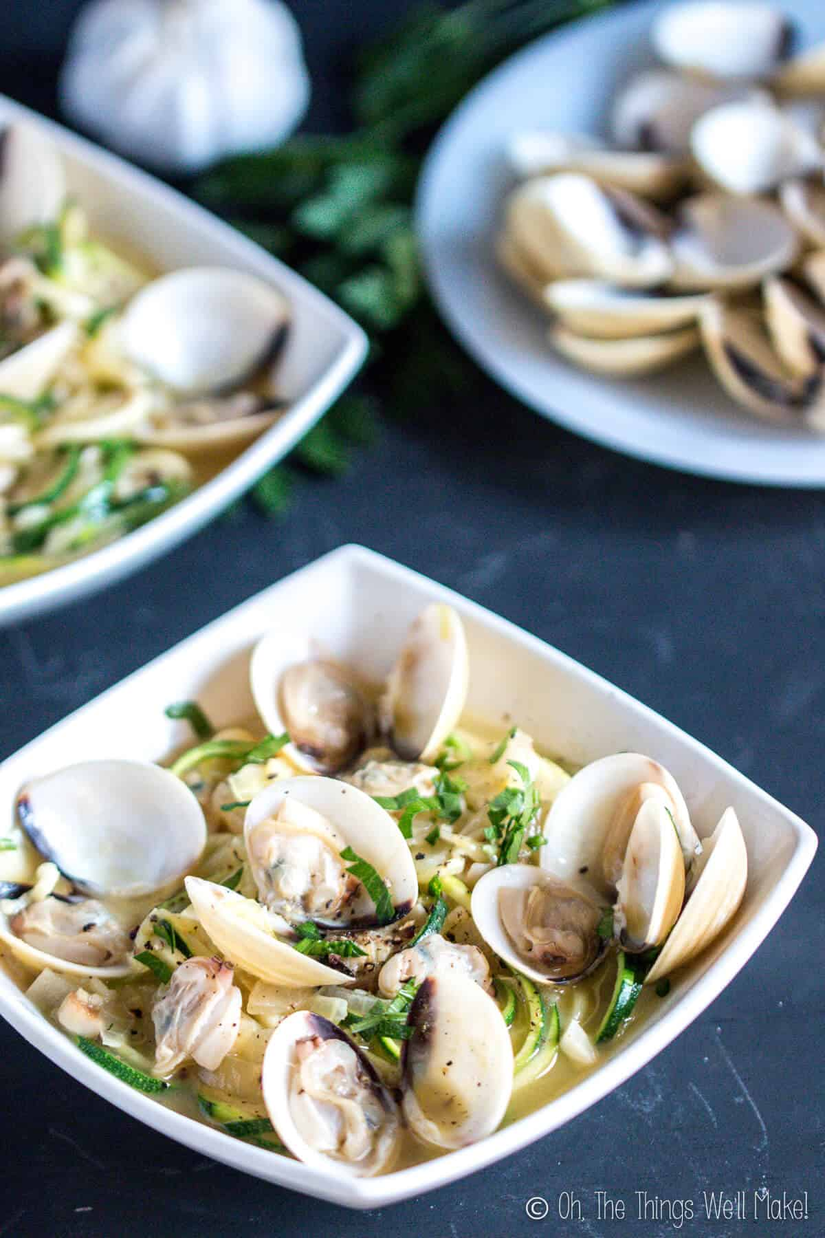 This paleo linguini with clam sauce recipe uses fresh clams and zucchini noodles to make a delicious, quick and easy, healthy meal.