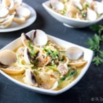 2 bowls of paleo linguini with clam sauce