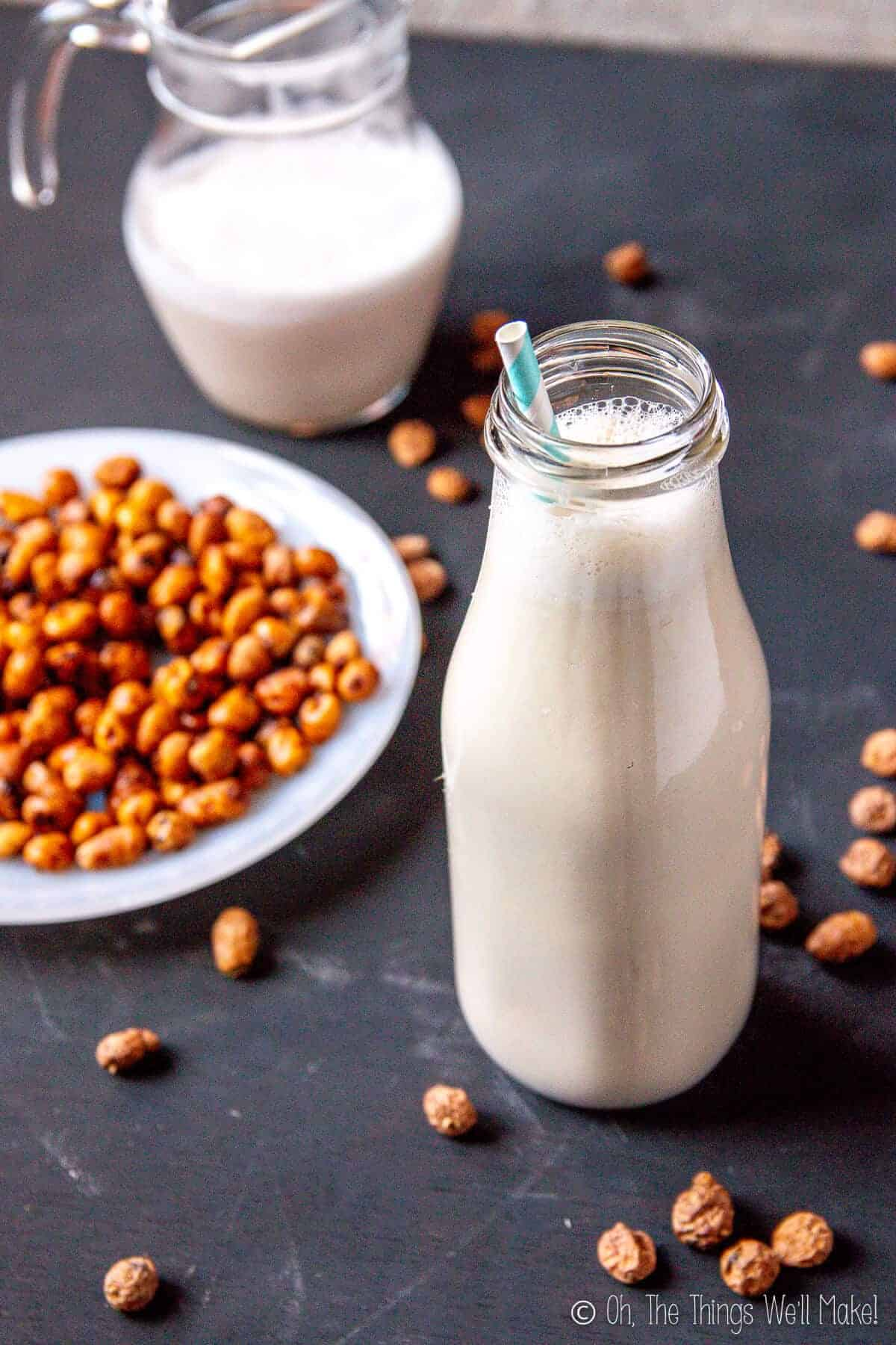 A bottle of tigernut milk (horchata de chufa) in front of a pitcher filled with more tiger nut milk, both surrounded by tiger nuts.