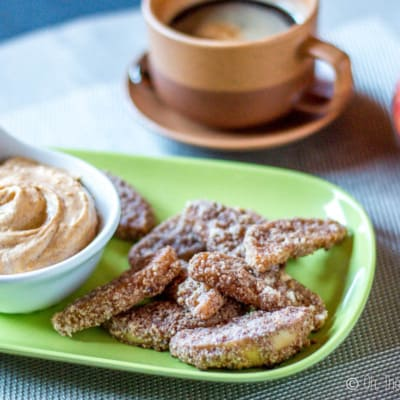 Crispy on the outside, sweet and soft on the inside, these sweet, paleo baked apple fries are perfect for dipping in my sweet pumpkin pie dip. #apples #applefries #paleo