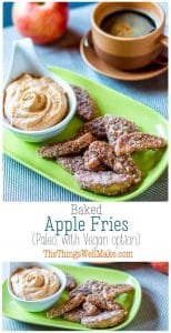 Crispy on the outside, sweet and soft on the inside, these sweet, paleo baked apple fries are perfect for dipping in my sweet pumpkin pie dip. #thethingswellmake #miy #apple #applefries #paleo #snacksforkids #snacks #fallrecipes #applerecipes #applesnacks #appledesserts #glutenfreerecipes #glutenfree