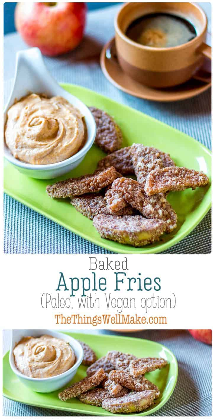 Crispy on the outside, sweet and soft on the inside, these sweet, paleo baked apple fries are perfect for dipping in my sweet pumpkin pie dip. #thethingswellmake #miy #apple #applefries #paleo #snacksforkids #snacks #fallrecipes #applerecipes #applesnacks #appledesserts