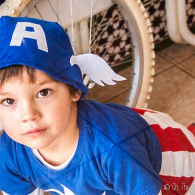 Face shot of boy dressed in homemade Captain America costume