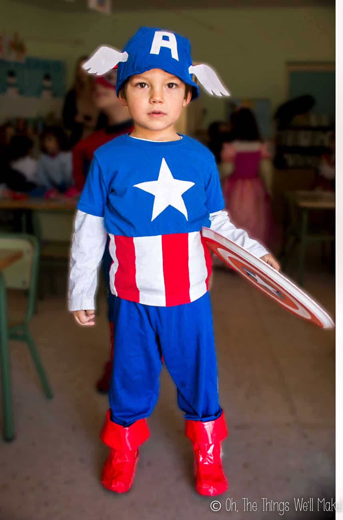 Boy dressed in homemade Captain America costume