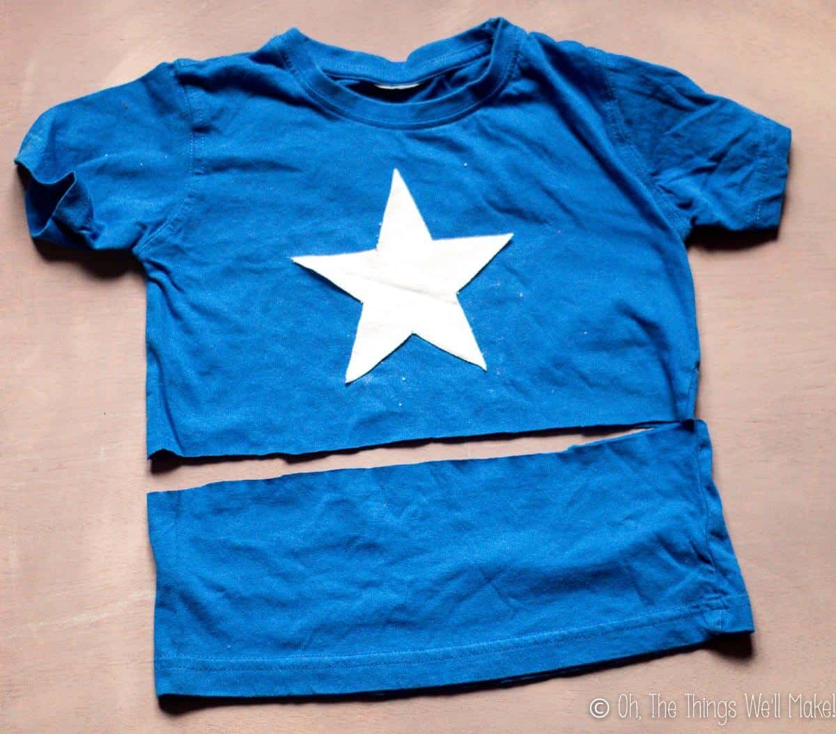 photo of where to cut the t-shirt in order to make a Captain America shirt