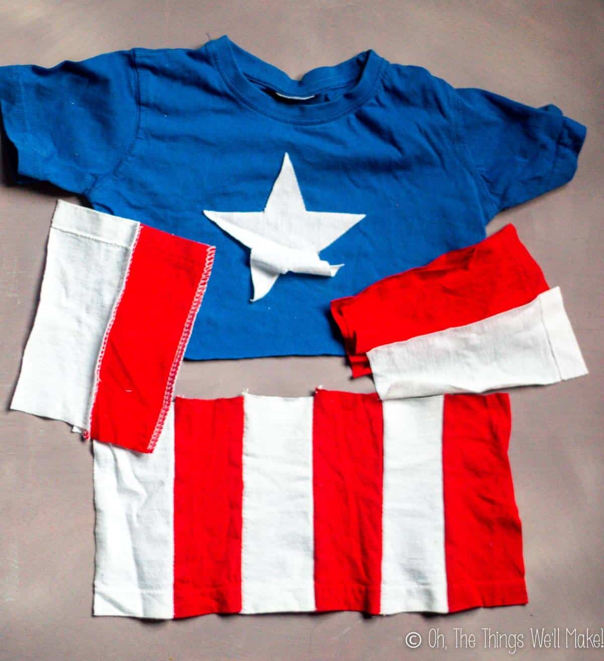 sewing together the stripes for the Captain America shirt