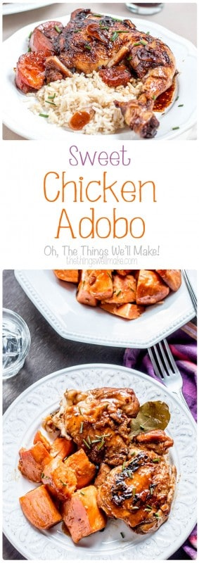 Sweet, sour, and salty meld together perfectly in this sweet chicken adobo, a traditional Philippine dish that is easy to make yet packed with flavor.
