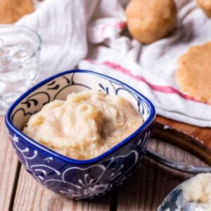 A small bowl of dulce de boniato, a sweet Spanish pastry filling made from white sweet potatoes.