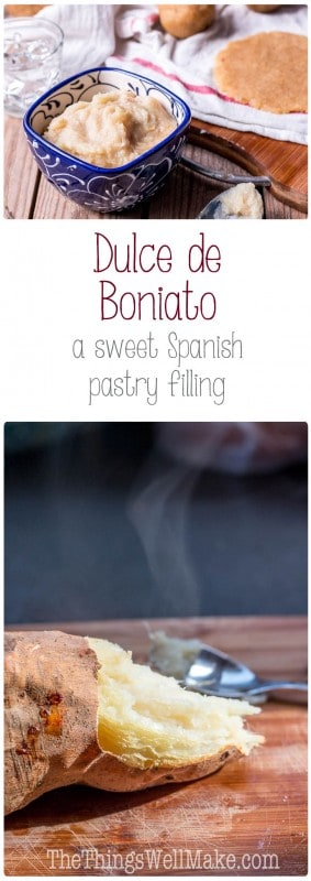Dulce de boniato is a sweet Spanish pastry filling used mostly around Christmas for filling pastries like passtisets or empanadillas dulces. While most people use the canned variety here, it is quite easy to make and tastes much better when you make it at home.