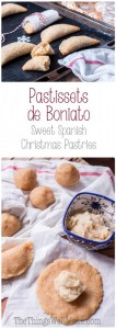 The most popular Spanish Christmas pastry in my area of Spain, pastissets are a type of empanadilla that is often filled with a sweet boniato filling.