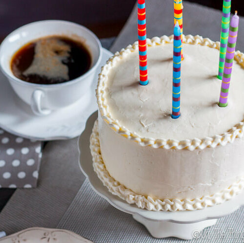 "This grain free birthday cake isn't as good as a ""normal"" cake, it's better. It's moist and flavorful, and goes perfectly with a homemade buttercream frosting."