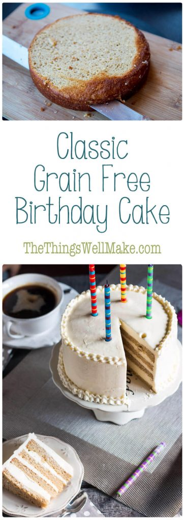 """This grain free birthday cake isn't as good as a """"normal"""" cake, it's better. It's moist and flavorful, and goes perfectly with a homemade buttercream frosting."""