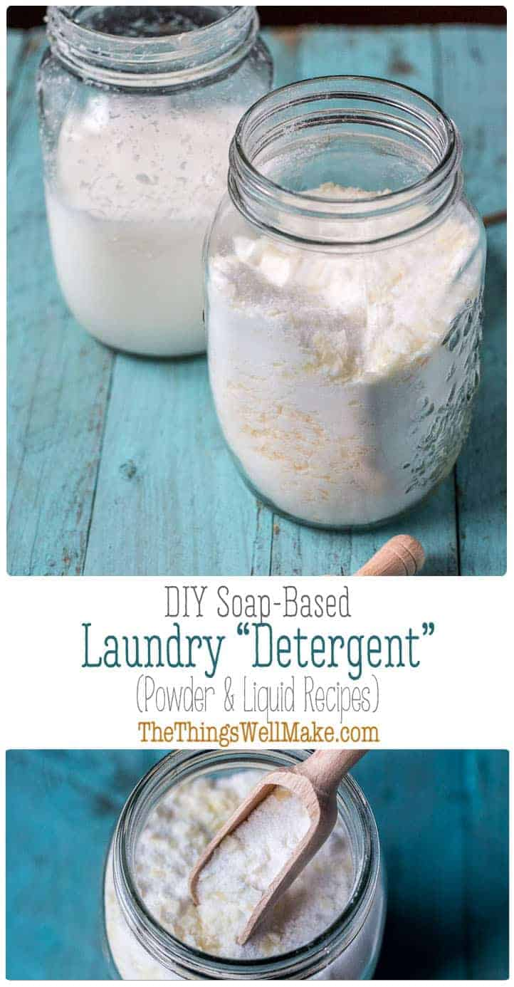 Making your own effective homemade laundry detergent is easy and can save you money. We'll show you how to make both a powder and liquid laundry detergent. #thethingswellmake #MIY #laundrydetergent #laundry #detergent #soap #wash #washing #naturalcleaning #naturalcleaningproducts #cleaning  #greencleaning #greenliving #greenlivingtips