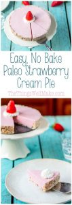 Quick and easy, this no bake, paleo strawberry cream pie can be whipped up in a matter of minutes for a light, creamy dessert.