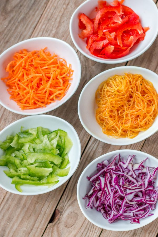 Eating the rainbow and getting in a healthy dose of colorful vegetables is fun and easy with these colorful rainbow spring rolls.