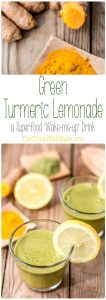 """Start the day off right with this green turmeric lemonade, a superfood """"wake-me-up"""" drink packed with antioxidants and vitamins."""