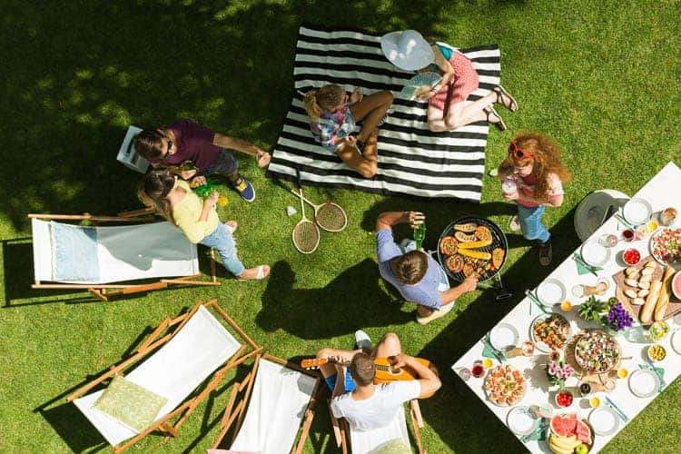Overhead view of picnic with grill, badminton, and a guitar