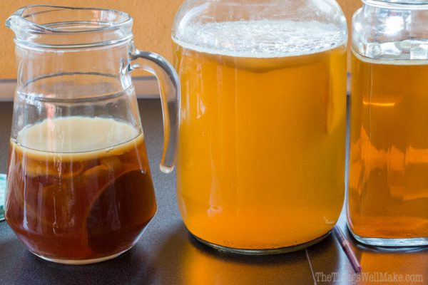 A simple, tasty way to get in probiotics is to drink kombucha, a fermented carbonated beverage made from tea. Learn how to make kombucha with this basic recipe.