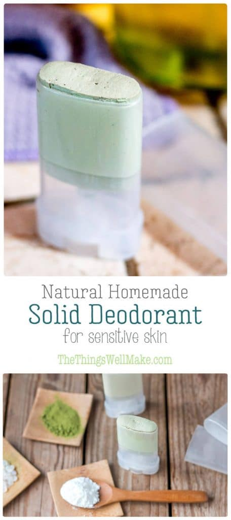 pictures of homemade solid deodorant and the ingredients that go into it