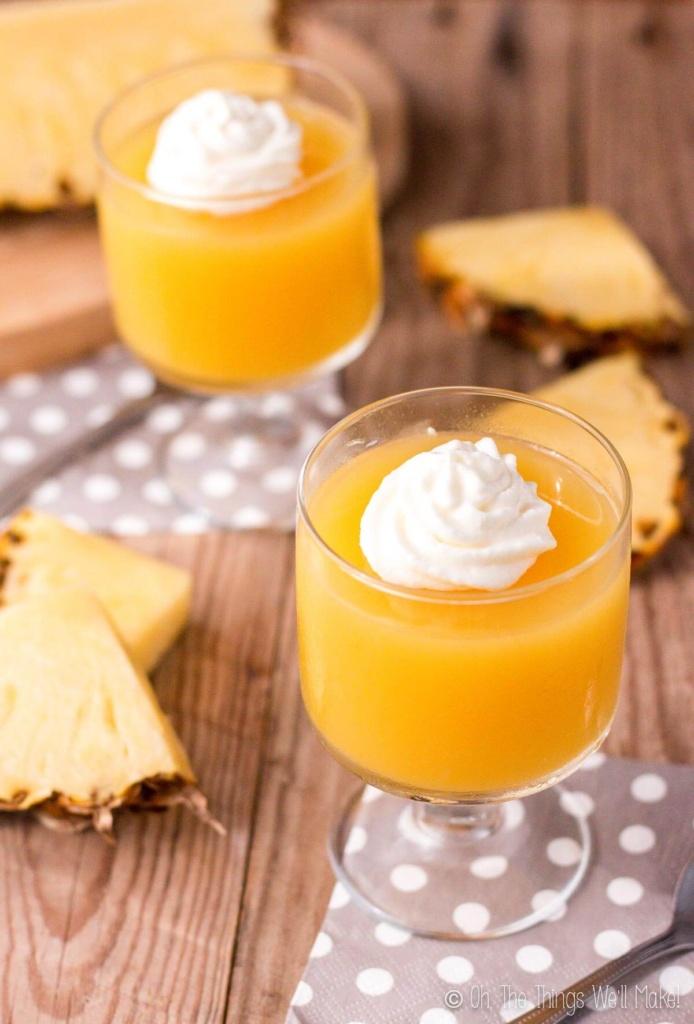Two dessert cups of homemade pineapple gelatin