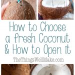Buying fresh coconuts can be intimidating and frustrating. Learn how to choose a coconut that is fresh, and how to open it easily.