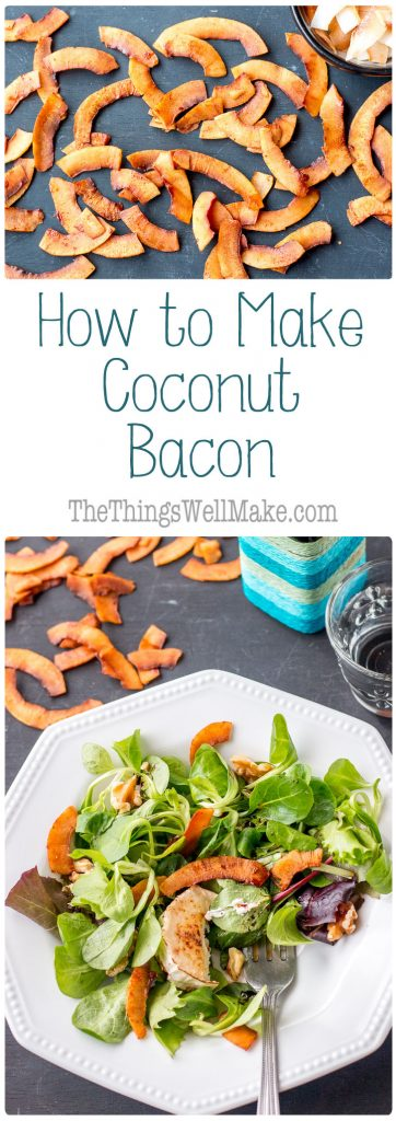 Sweet, smoky, and salty, these seasoned coconut chips will remind you of maple sweetened bacon, but they are vegan! I'll show you how to make coconut bacon in just a few minutes!