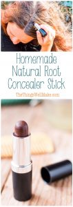 Cover up those gray hairs or dark roots with a simple, easy-to-make, homemade natural root concealer stick which won't break the bank, at all.