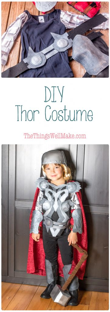 With a bit of hot glue, craft foam, felt, and paint, you can whip out this fun DIY Thor costume complete with a homemade hammer, vambraces, and helmet.