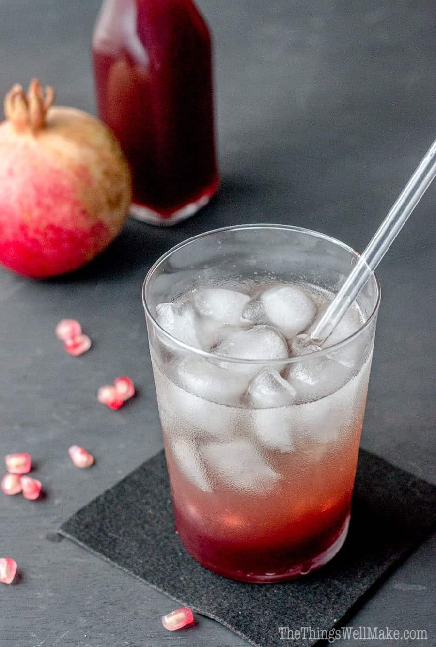 photo of a Shirley Temple cocktail made with homemade grenadine