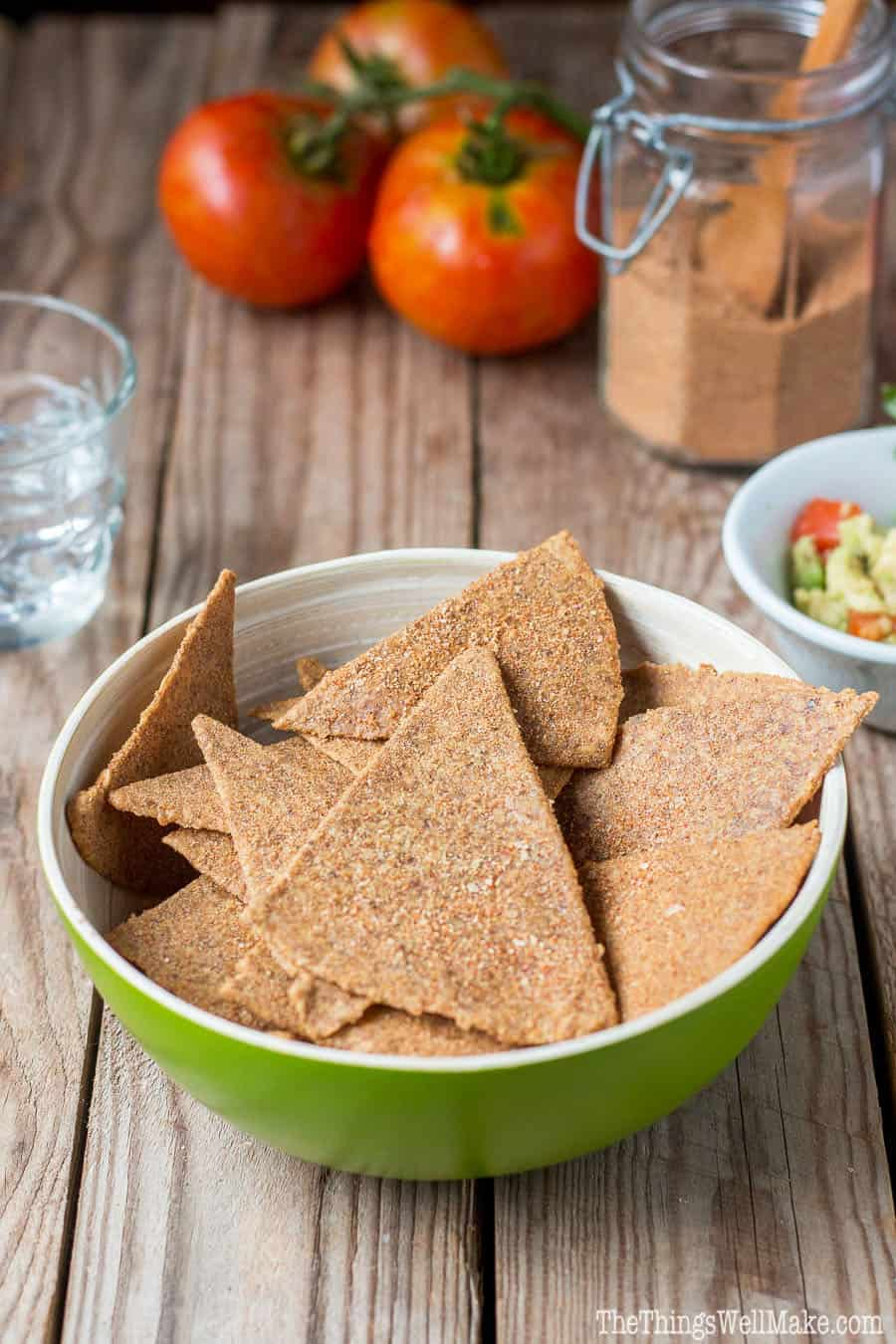 Crispy and coated with a tasty Mexican spice blend, these paleo Doritos like chips are a satisfying, healthy way to curb your junk food cravings.