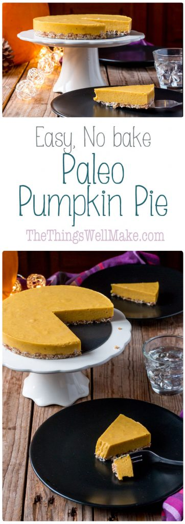Super quick and easy to make, this no-bake paleo pumpkin pie can be whipped together in under 15 minutes, and is the perfect ending to your holiday meals.