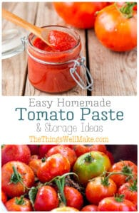 Making a homemade tomato paste from scratch is easier than you may think. It's the perfect way to conserve excess tomatoes from your garden. It can be made on the stove top, in your oven, or in a slow cooker. Learn how to make it, and how to conserve it for later. #thethingswellmake #miy #tomatopaste #tomatosauce #tomatorecipes #tomatoes #freezing #canning #preservingfood #homesteading #homesteadingskills #pantrybasics