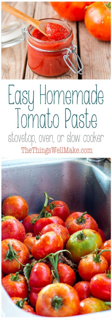 Conserve excess tomatoes with an easy, homemade tomato paste that can be made on the stove top, in your oven, or in a slow cooker.