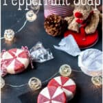 This fun holiday peppermint soap looks like peppermint candy. Its festive appearance makes it perfect for Christmas time, but that doesn't mean you can't enjoy using it year round. #peppermint #peppermintsoap #christmassoap #naturalskincare #soapmaking #holidaycrafts #christmascrafts