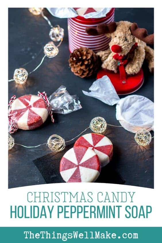 This fun holiday peppermint soap looks like peppermint candy and it's perfect for Christmas time, but can also be enjoyed year round. Makes a great gift! #christmasgift #DIYsoap #MIY #naturalproducts