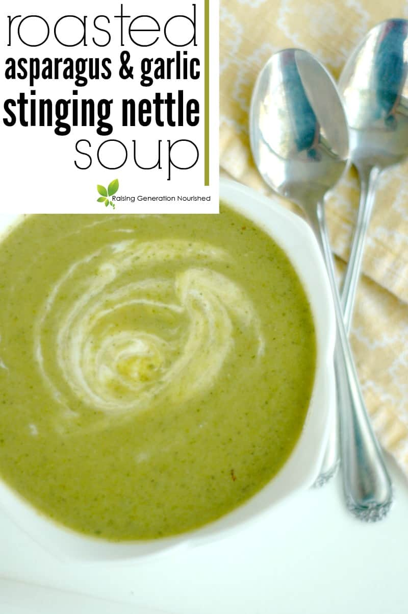 roasted asparagus and garlic stinging nettle soup