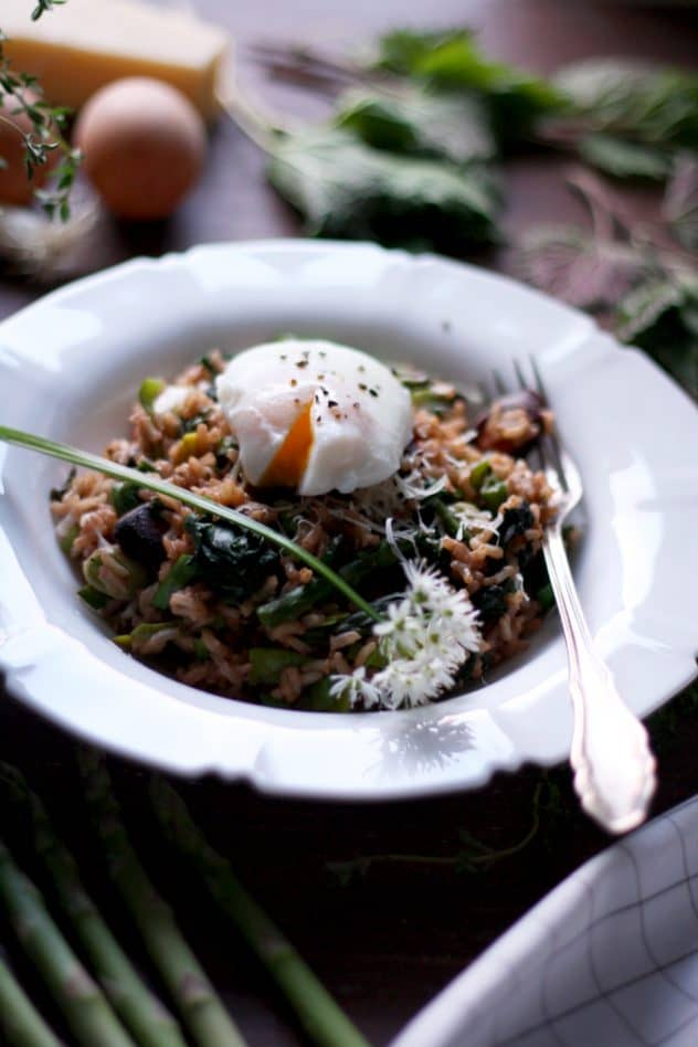 spring brown rice risotto with asparagus and nettles