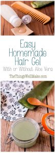 This easy homemade hair gel can be made with or without aloe vera, and is the perfect natural hair gel for when you are on the go. It can be preserved with natural preservatives for up to 3 months.