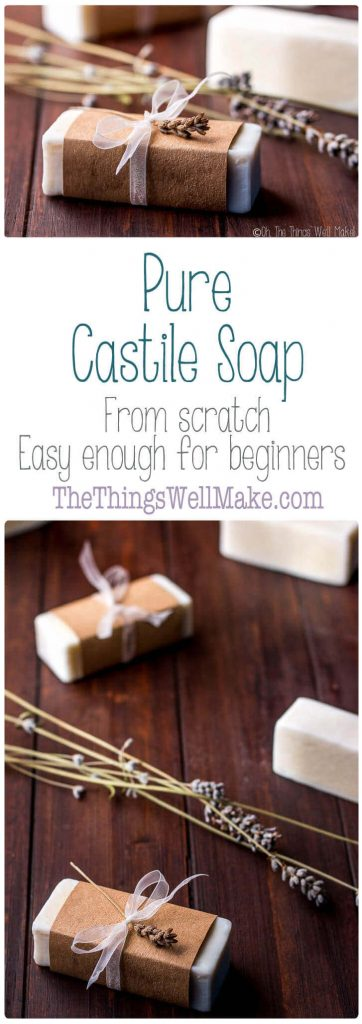 Made using only olive oil, pure Castile soap is a mild, conditioning soap that is gentle enough to use on face and body.
