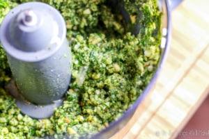 pesto sauce in a food processor