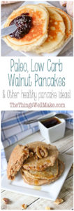 These low carb walnut pancakes make a quick and delicious breakfast that's full of healthy fats, health boosting nutrients and is free of processed sugars. And they taste great! Plus, links to other healthy pancake recipes. #paleo #healthypancakes #pancakes