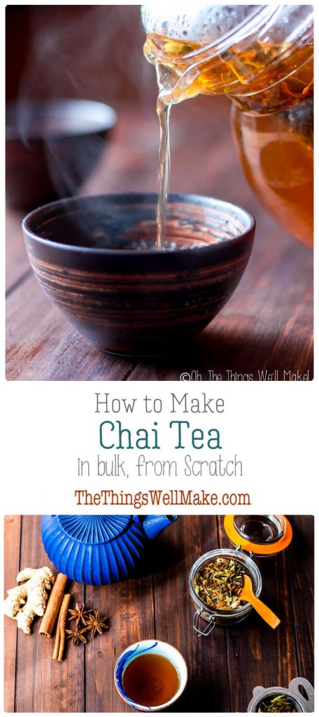 pictures of loose leaf chai tea and a glass of chai being poured