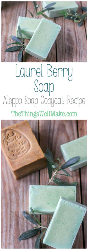 This laurel berry soap, or Aleppo soap copycat recipe, is amodified Castile soap that is mild, conditioning, and great for a number of skin conditions.