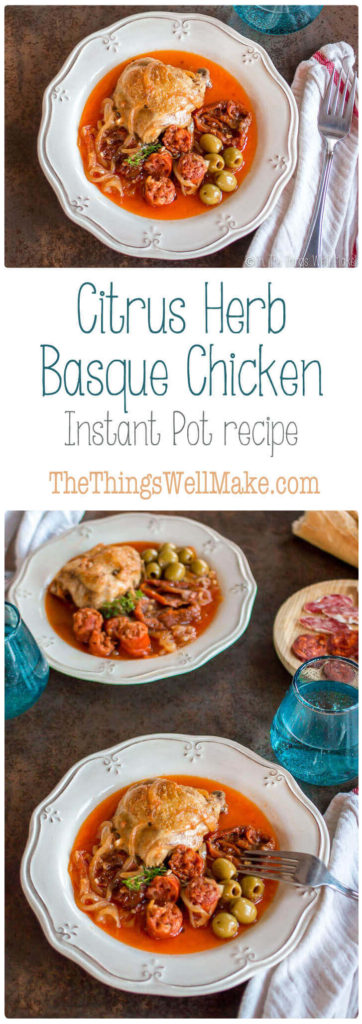 citrus herb Basque chicken Pinterest pin image