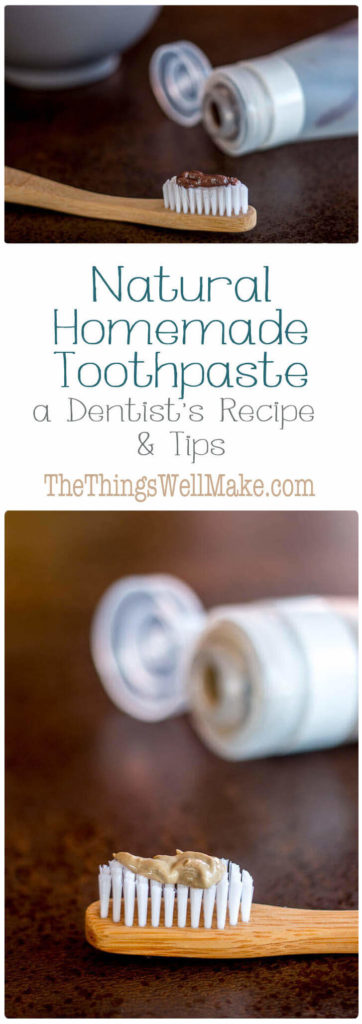 Pinterest pin displaying several pictures of different variations of my homemade toothpaste recipe
